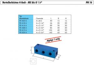 """Leiste Verteilerleiste 4-fach M5 bis G 1//2/"""" Verteiler PN 16 Verteilerblock"""